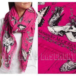 MCQUEEN pink TRAPPED IN BELL JAR modal/wool scarf